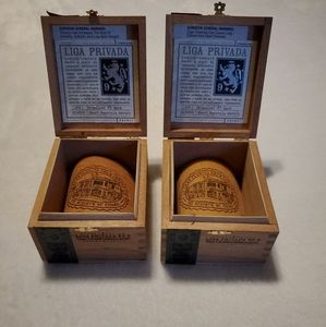 2 Empty Wooden Cigar Boxes Liga Privada No.9